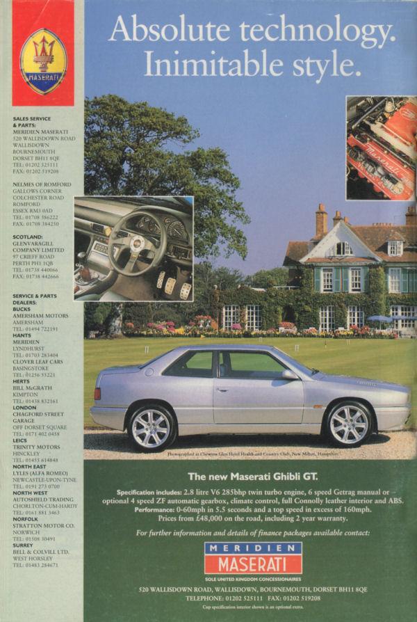 Vecchie pubblicità Maserati Meridi12
