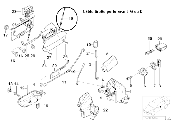 [ BMW E39 530da an 2001 ] recherche câble qui tire la serrure de porte (résolu) 232_e_10