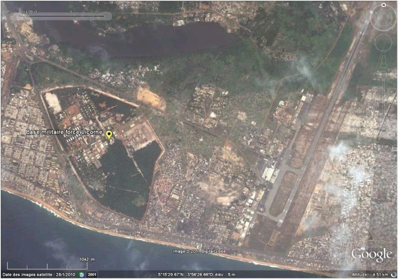 La situation en Côte d'Ivoire et à Abidjan vu par google earth Licorn10