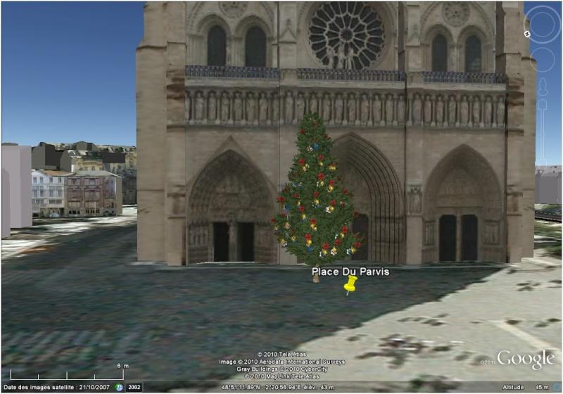 Les sapins de Noël sous Google Earth [modélisation 3D] Paris10