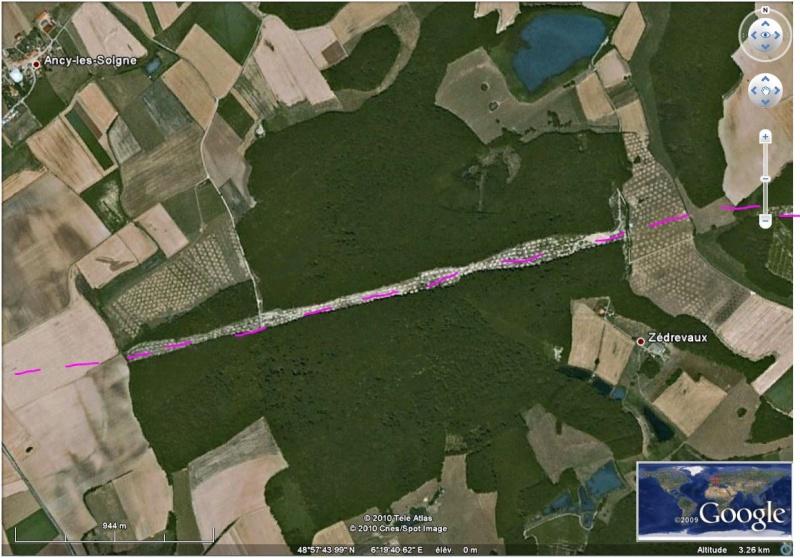 Les sondages archéologiques vus avec Google Earth Tgv10