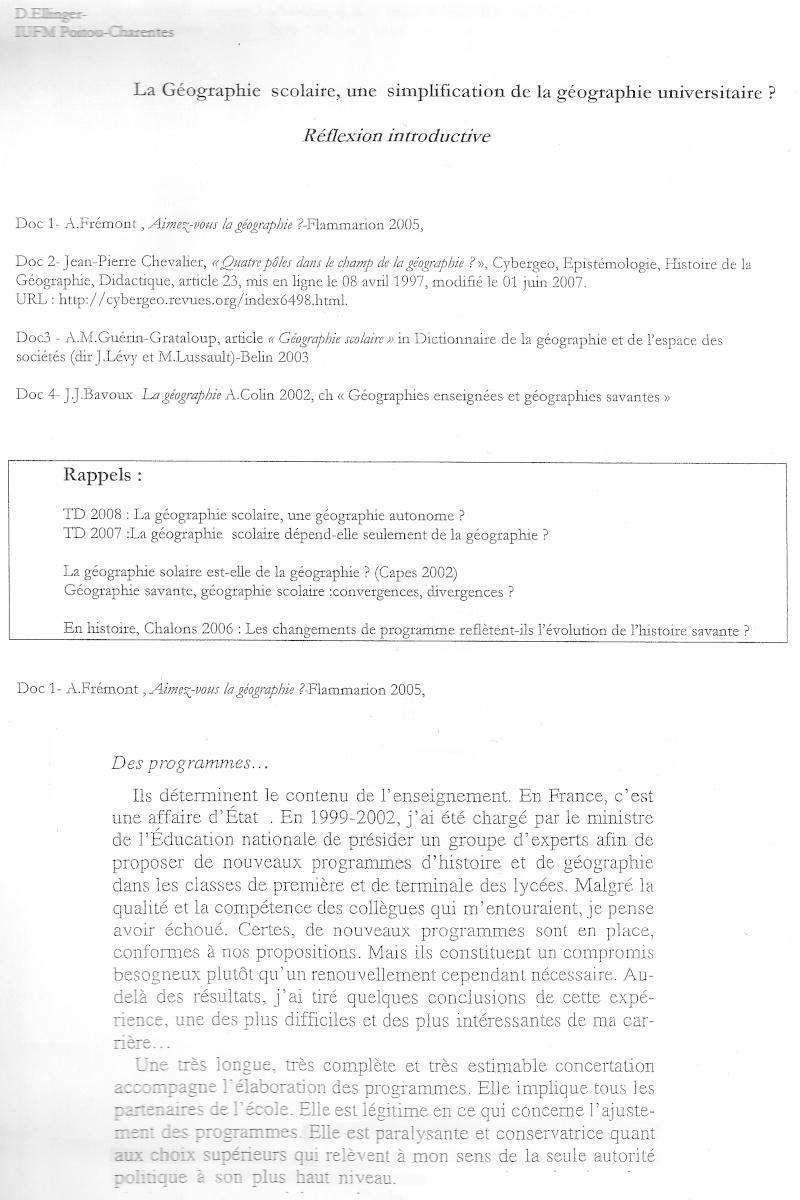 Débat du mois de mai 2010 : La géographie scolaire, simplification de la géographie universitaire ? 111