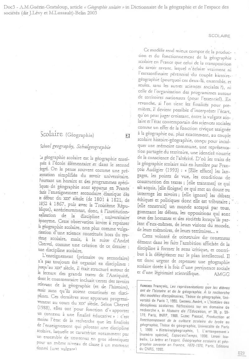 Débat du mois de mai 2010 : La géographie scolaire, simplification de la géographie universitaire ? 311