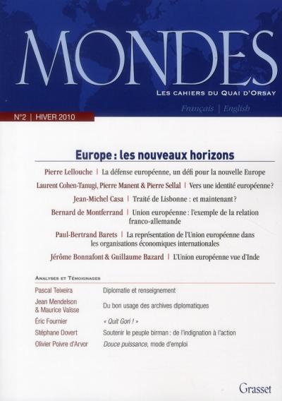 Mondes n°2. Les cahiers du Quai d'Orsay Europe : les nouveaux horizons 97822410