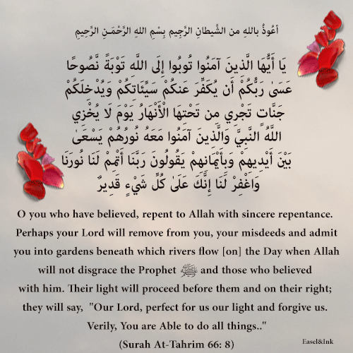 Turn to Allah with sincere repentance! (Surah At-Tahrim 66: 8) 91s66a10
