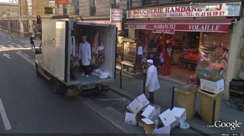 STREET VIEW : arrivée de la viande, Paris, France. Bouche10