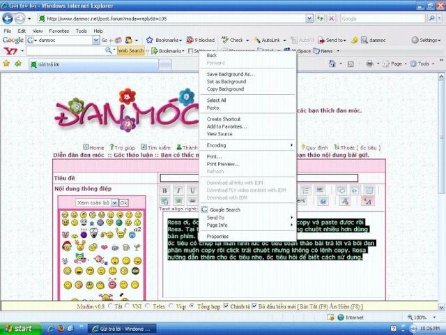 Lệnh copy và paste trong soạn thảo nội dung bài gửi. 82698210