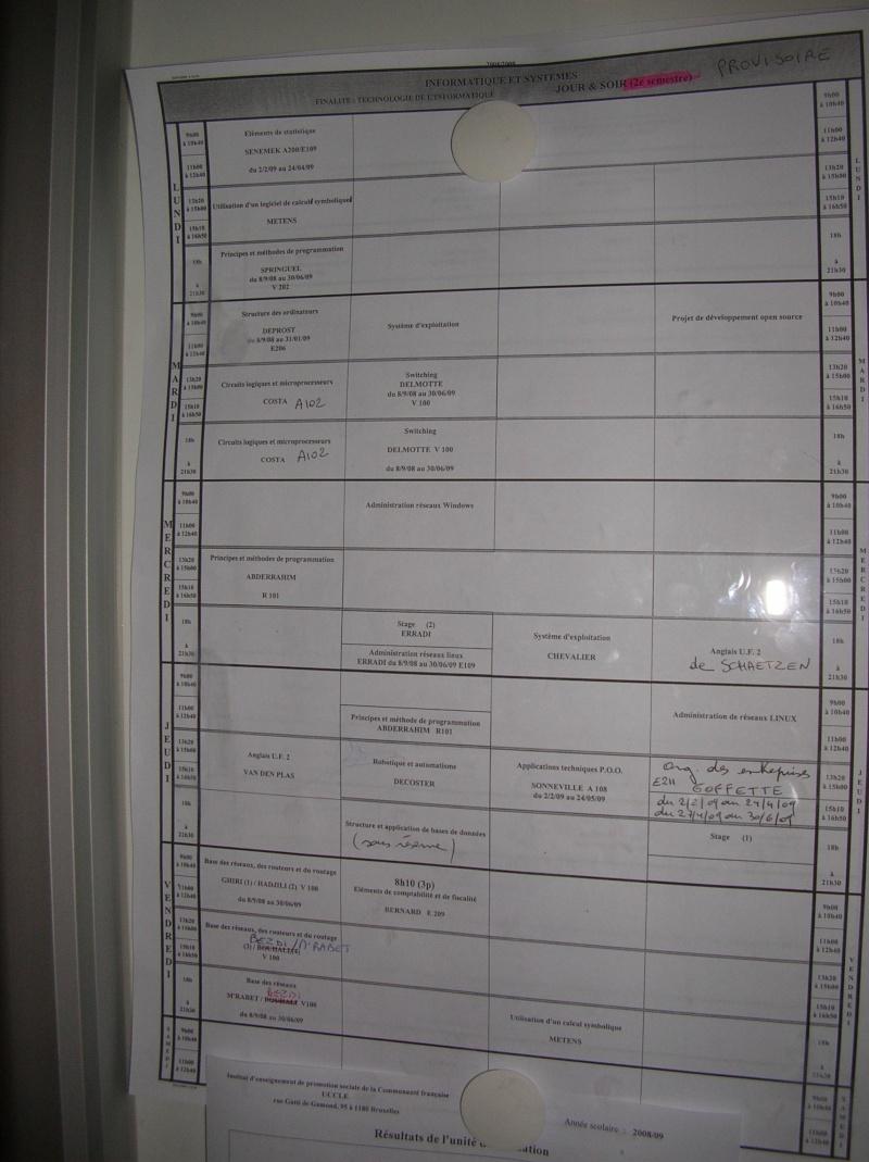 Le nouvel horaire du second semestre (jour et soirée) Dscn0012