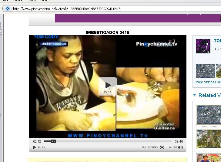 A clip from IMBESTIGADOR 18 April 2009 Kamaya10