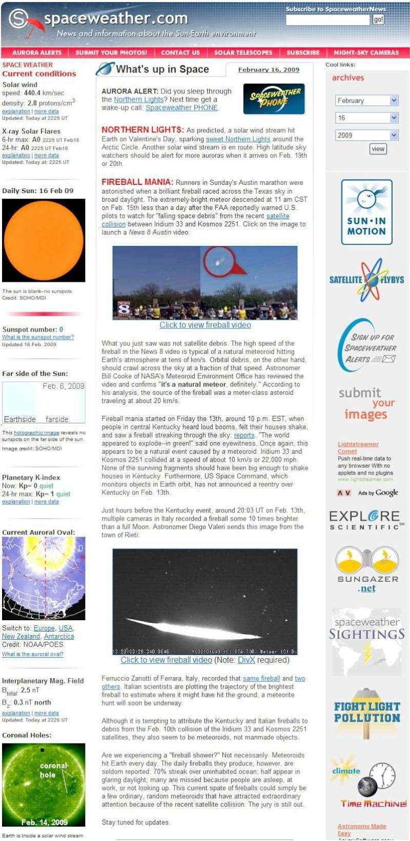 """13-14 Febbraio 2009 """" la notte dei bolidi e dei superbolidi"""" anche in USA Spacew10"""