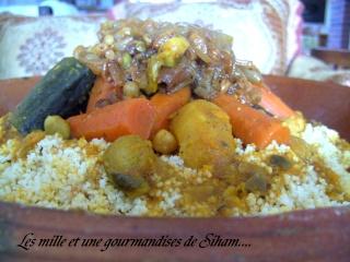 Ksskssou ou Couscous marocain aux légumes et T'faya Cuisin35