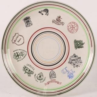 DC logo on Crown Lynn plate - advertising ware 23610