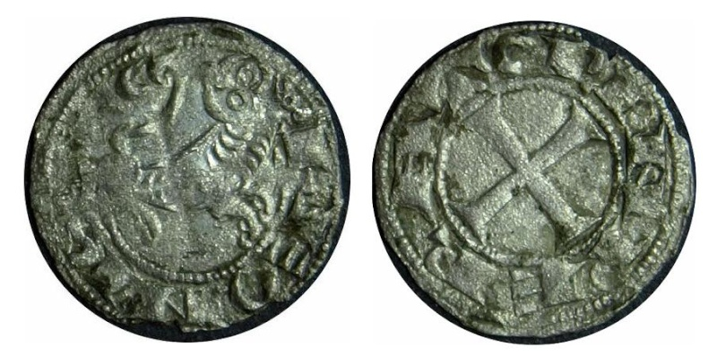 Dinero de Alfonso VII 1166