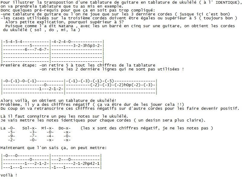 Comment transposer Guitare=>Uku Tab_gu10