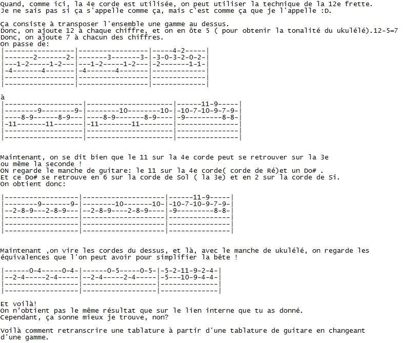 Comment transposer Guitare=>Uku Tab_gu12