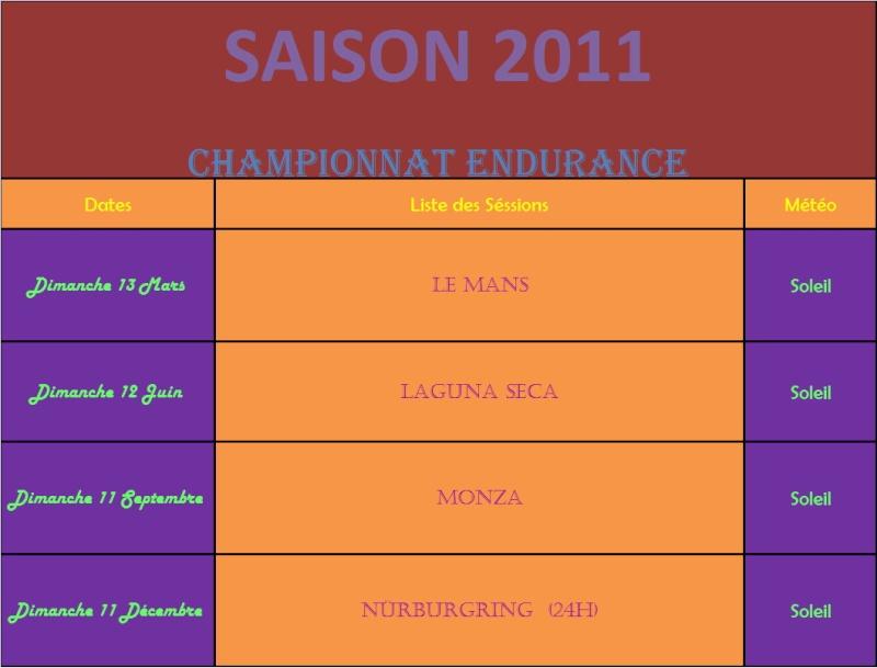 Calendrier de la Saison du Championnat d'Endurance 2011. Calend11