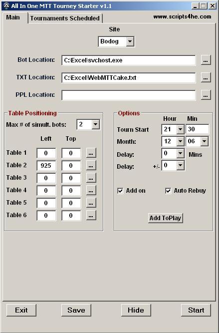 **4 SITE MTT LOADER & SCHEDULER & AUTO REGISTRATION (UB/SX/BDG/RS)** Mtt111