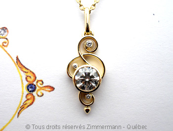 Un pendentif avec un diamant canadien de 1 carat E Vs1 Ideal Cut........... Peob7210