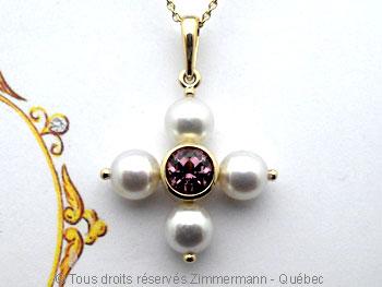 Croix de perles avec spinelle rose serti clos. Peofp110