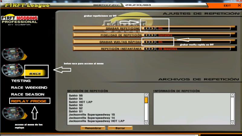 Configuracion de los replays para el campeonato Sin_ta14