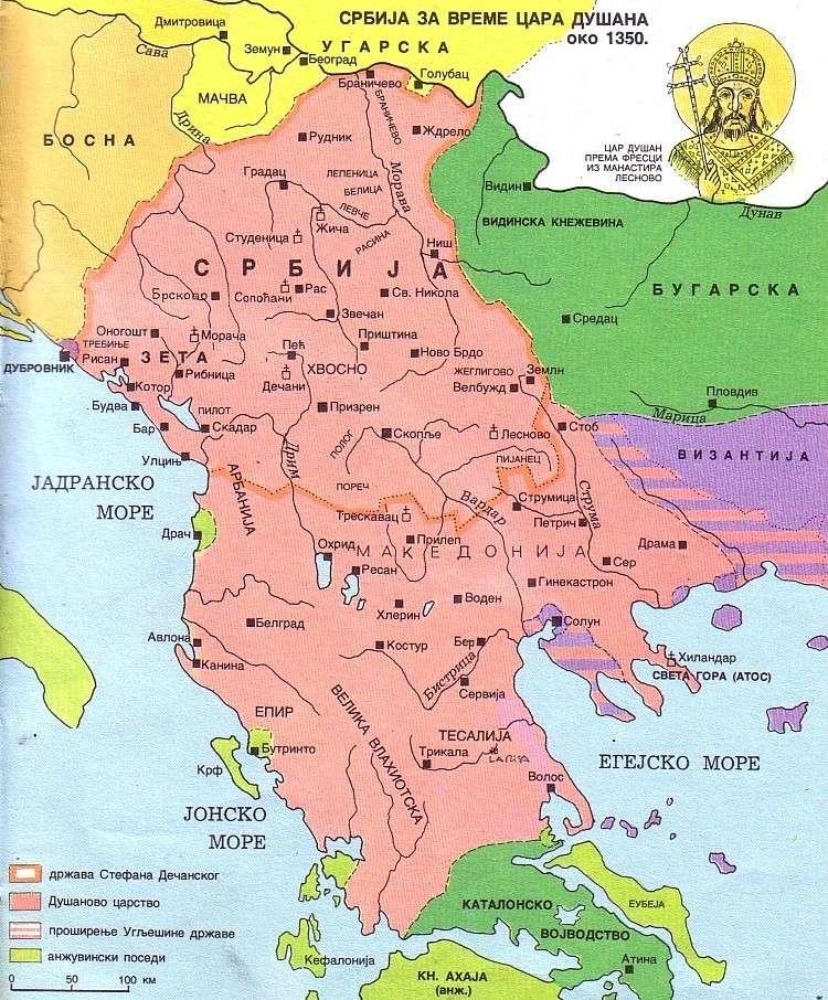 Srbija za vreme cara Dušana Silnog (oko 1350) Srbija11