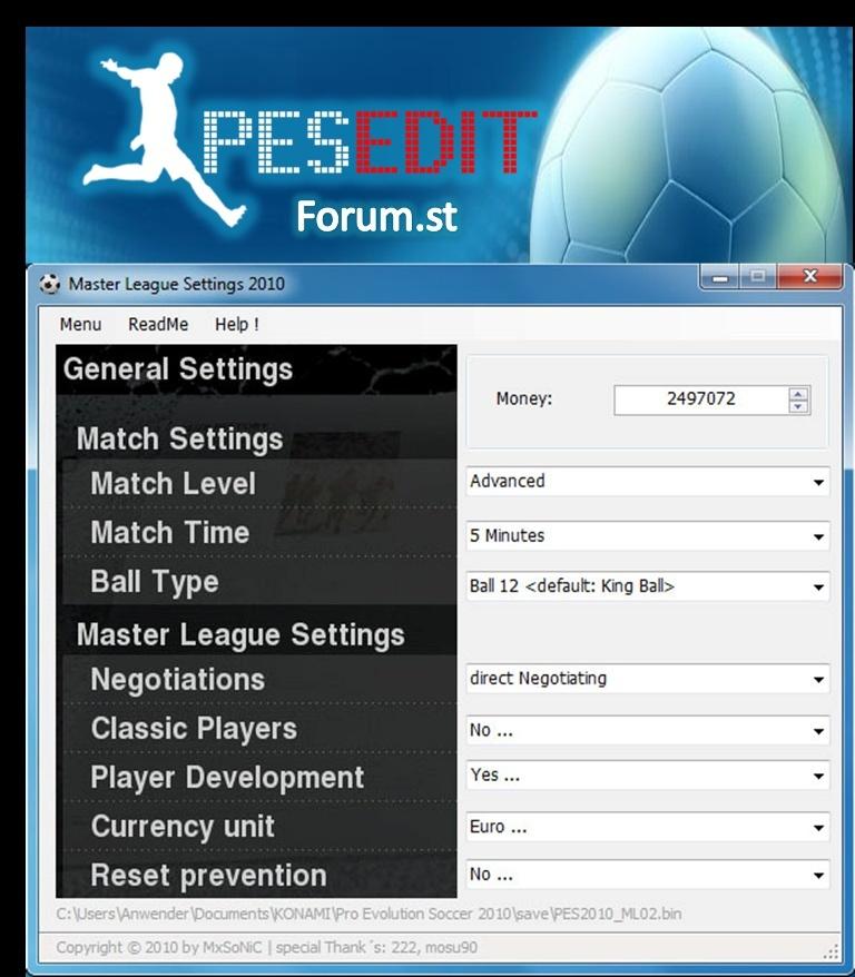 PES 2010 Master League Settings Tool v1.1 Master10