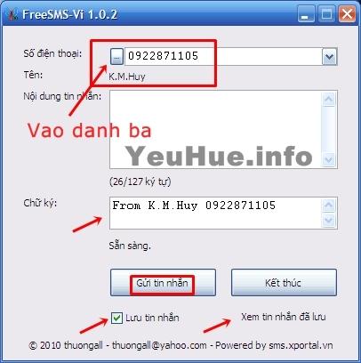 FreeSMS-Vi 1.0.2 - Gửi tin nhắn miễn phí đến các thuê bao tại Việt Nam Tn11