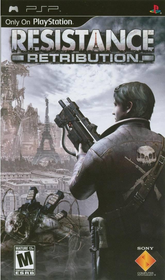 Фасад обложки и скриншот игры PSP (R). Resist10