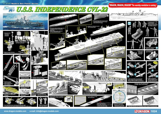 DRAGON CVL-22 USS Independence au 1/350ème 1024po11