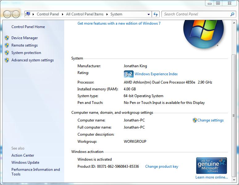 .Windows  7. 2dsl8x10