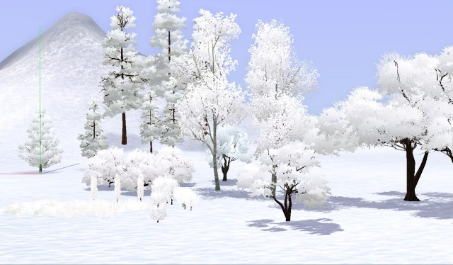 Winter Trees, Shrubs, and Pastel Roofs- Altered Image Files Winter10