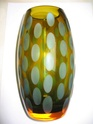 Amber Vase with Duck Egg Blue Lens/Ovals - Sklo Union? Img_0015