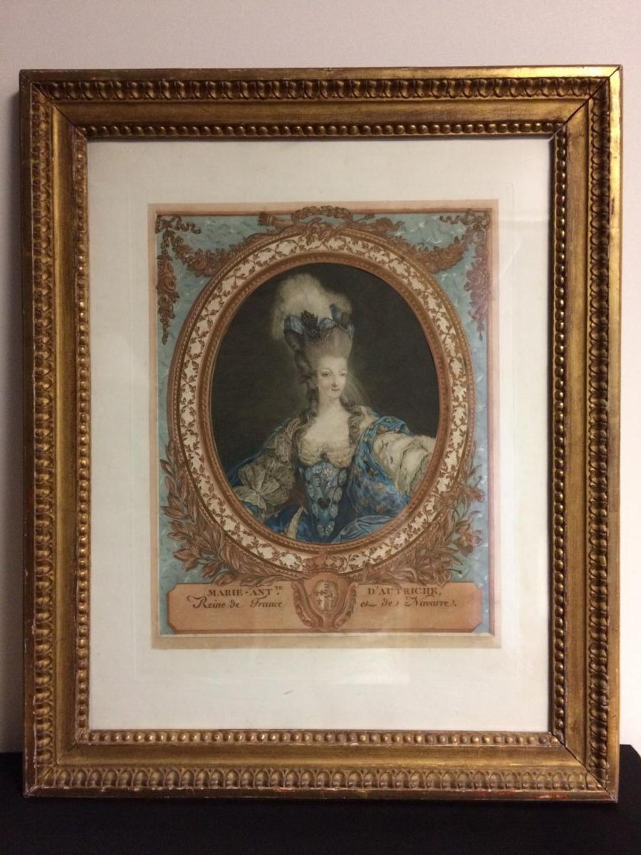Gravures : Portraits de Marie Antoinette par Jean-François Janinet, d'après Dagoty 946-5b10