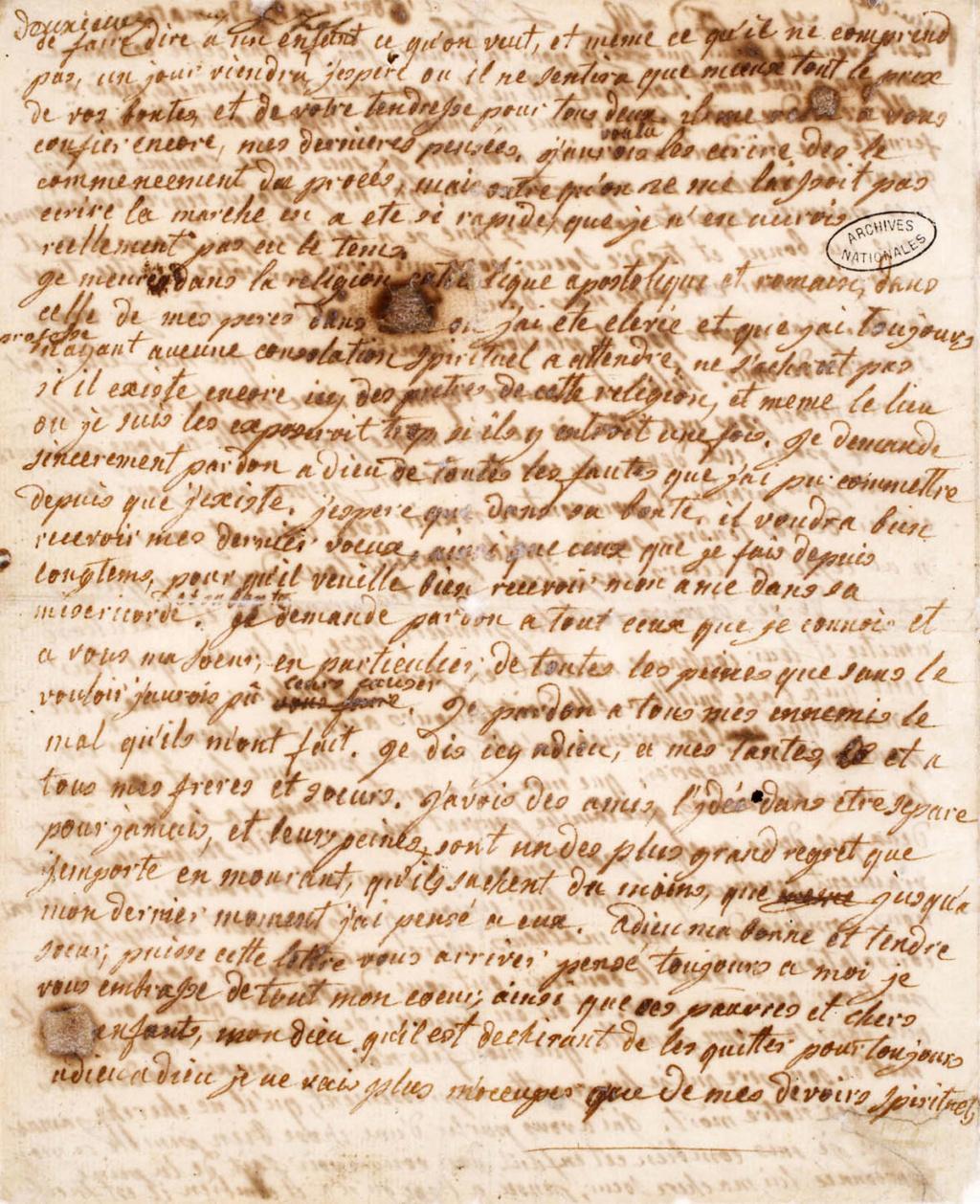 Testament / Lettre de Marie-Antoinette à Madame Elisabeth, le 16 octobre 1793 - Page 2 Derniz11