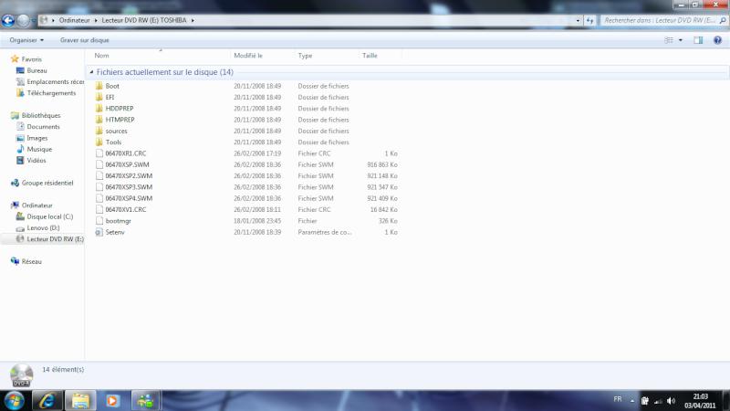 Besoin d'aide restauration PC  //  Recherche personne utilisant Vista  Impac10