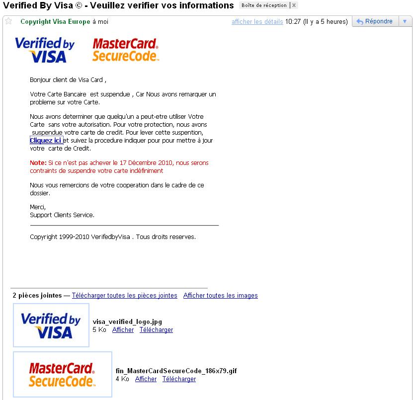 ATTAQUE PHISHING VISA/MASTERCARD Visa10