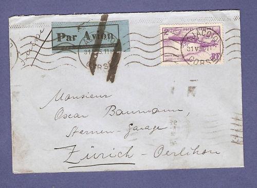 Croix ou lignes parallèles,au tampon, sur étiquettes PAR AVION Lettre13