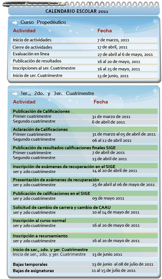 Fechas Importantes Calendario ESAD Ultimo10