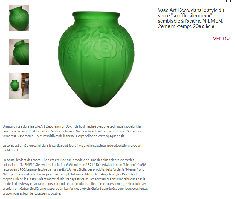 Gros vase verre noir pressé moulé Art Déco (?) côtelé, fleurs satinées Captur49