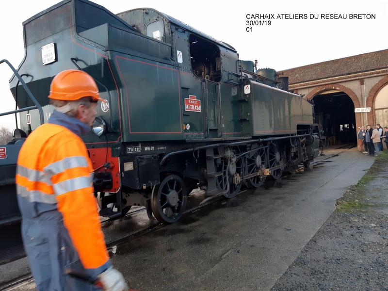 Carhaix. La machine à vapeur BB 141 TB 424  est à la CFTA 20190251