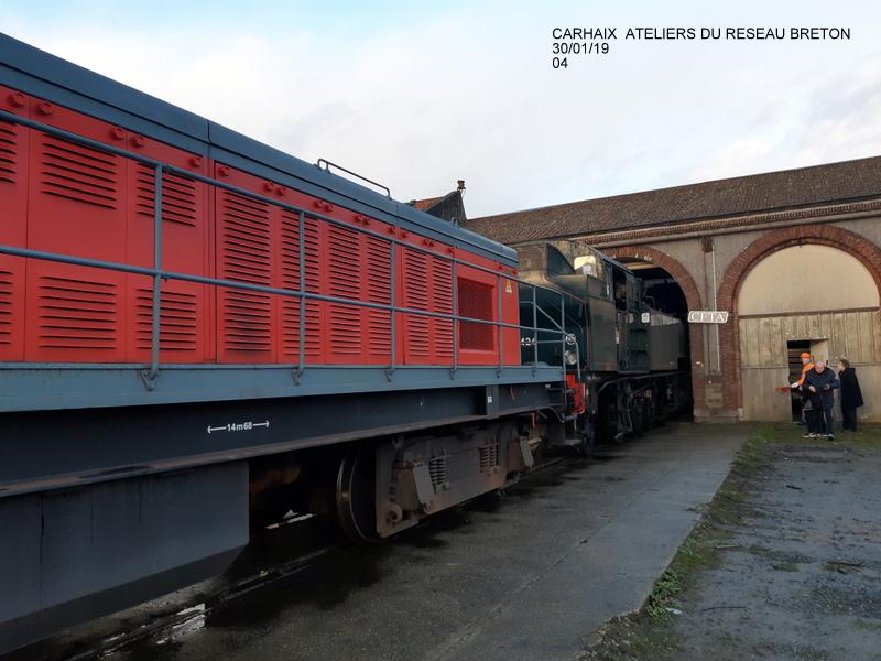 Carhaix. La machine à vapeur BB 141 TB 424  est à la CFTA 20190254