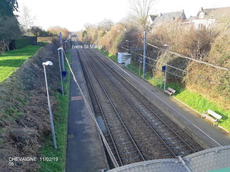 Ligne Rennes-St Malo. Halte de Chevaigné  11/02/19 20190381