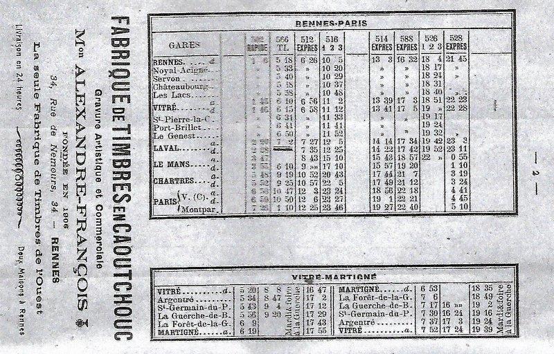 Ligne Rennes-Paris Montparnasse : Horaires 1926 Image041