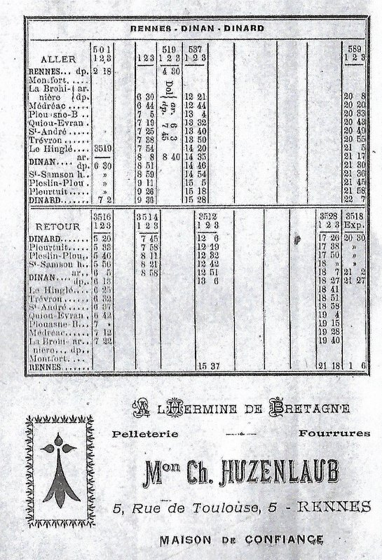Ligne Rennes/La Brohinière-Dinan-Dinard Horaires 1926 Image044