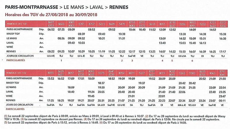 sncf : les horaires TGV Paris Rennes modifiés du 27/08 au 30/09 2018 Image103