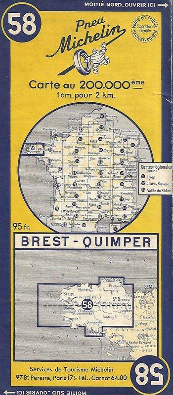 Extraits cartes Michelin 58 Brest - Quimper 1947 et 1953 Image160