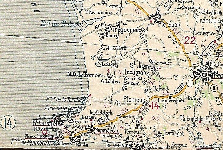 Extraits cartes Michelin 58 Brest - Quimper 1947 et 1953 Image161