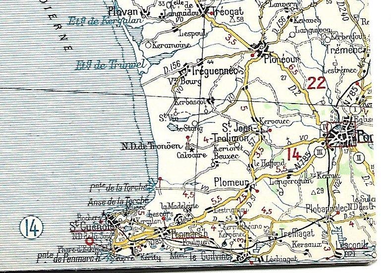 Extraits cartes Michelin 58 Brest - Quimper 1947 et 1953 Image162