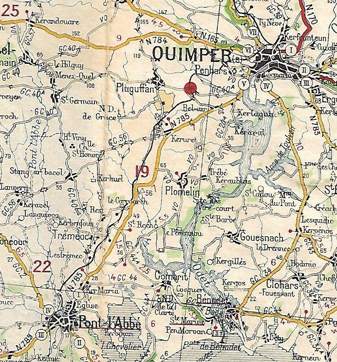 Extraits cartes Michelin 58 Brest - Quimper 1947 et 1953 Image163