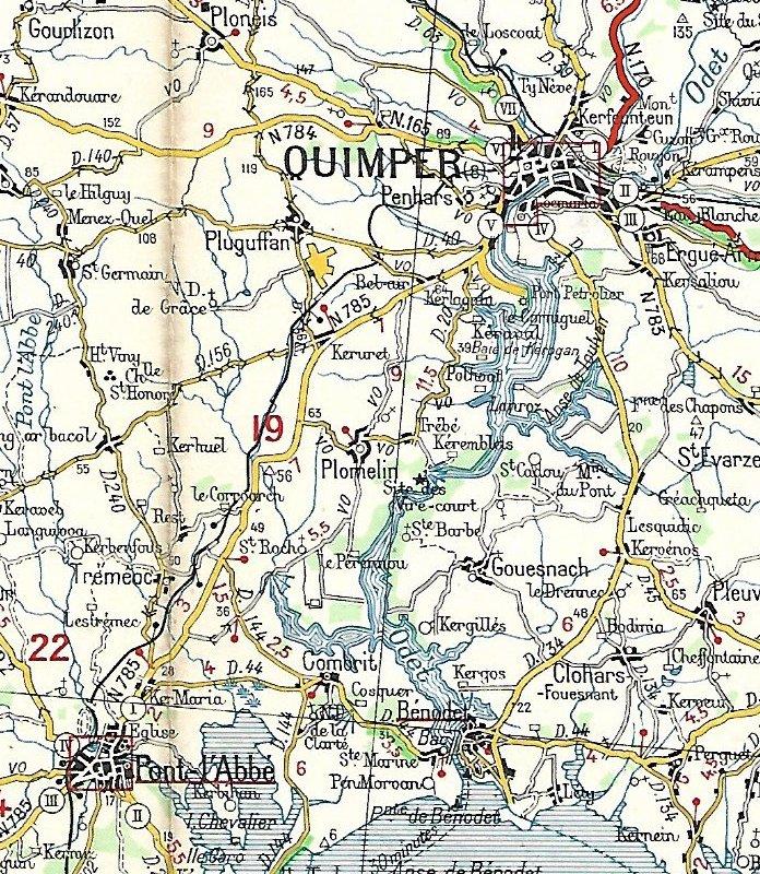 Extraits cartes Michelin 58 Brest - Quimper 1947 et 1953 Image164